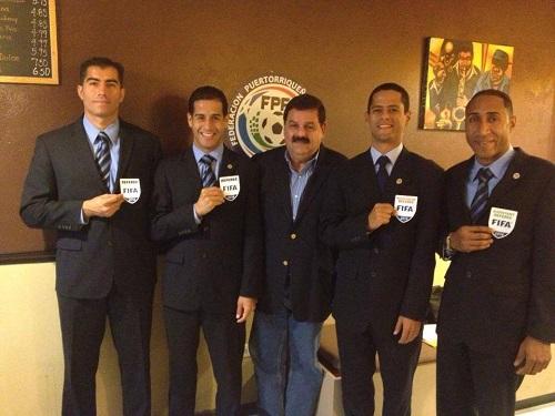 Javier Santos, William Anderson, Eric Labrador, Jairo Morales y César Echvarría (Foto Puerto Rico Ref's)