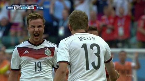 Thomas Muller luego de anotar el primer gol. Foto: ESPN