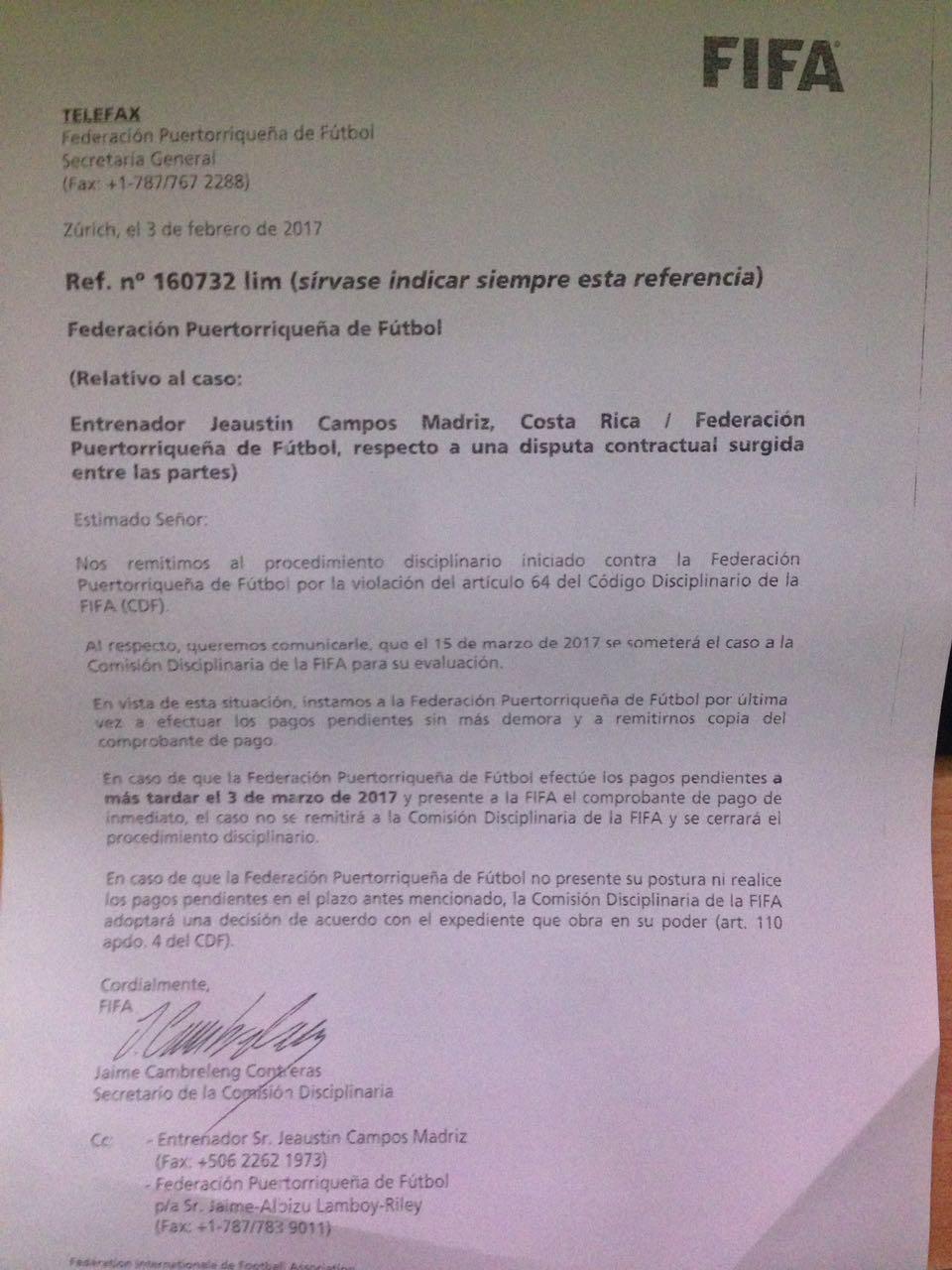 Carta enviada a la Federación Puertorriqueña de Fútbol. Suminsitrada