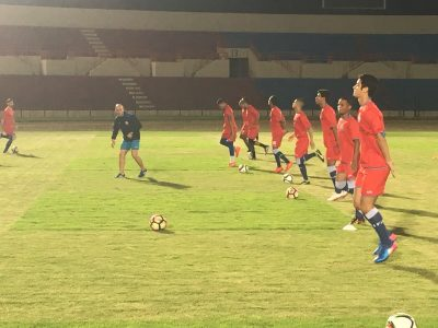 La selección en entrenamientos realizados ayer viernes 9 de junio, en Indonesia. Suministrada